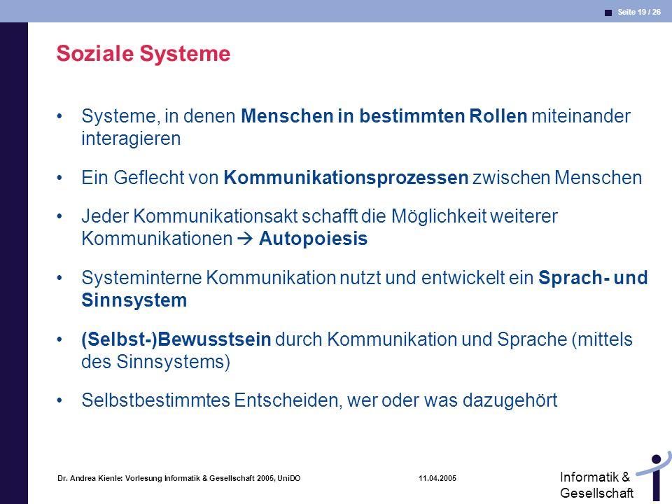 Soziale Systeme Systeme, in denen Menschen in bestimmten Rollen miteinander interagieren. Ein Geflecht von Kommunikationsprozessen zwischen Menschen.