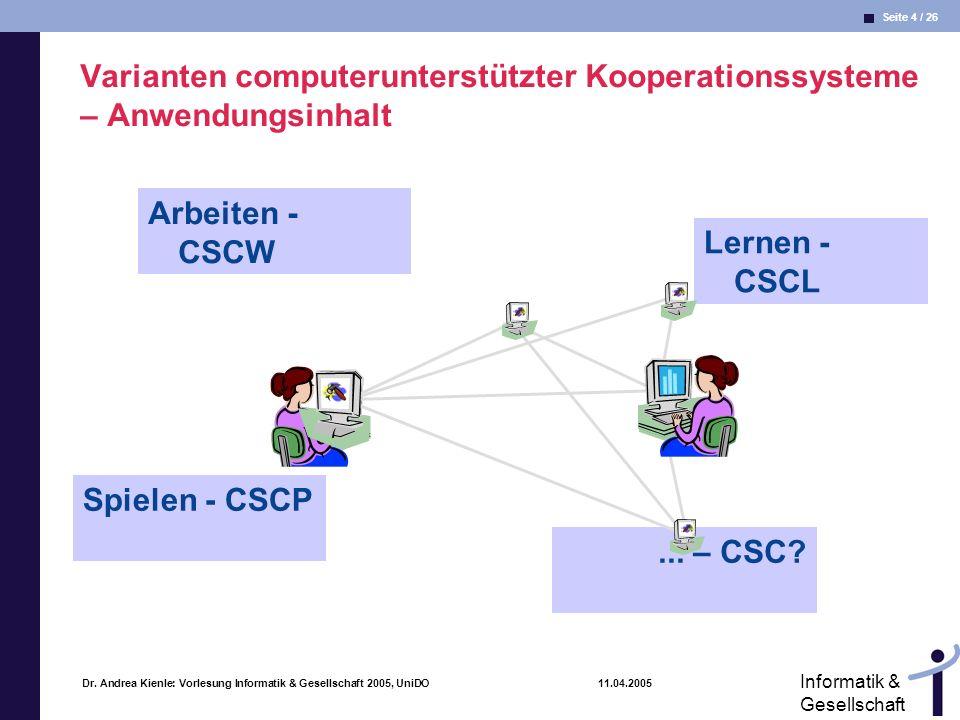 Varianten computerunterstützter Kooperationssysteme – Anwendungsinhalt