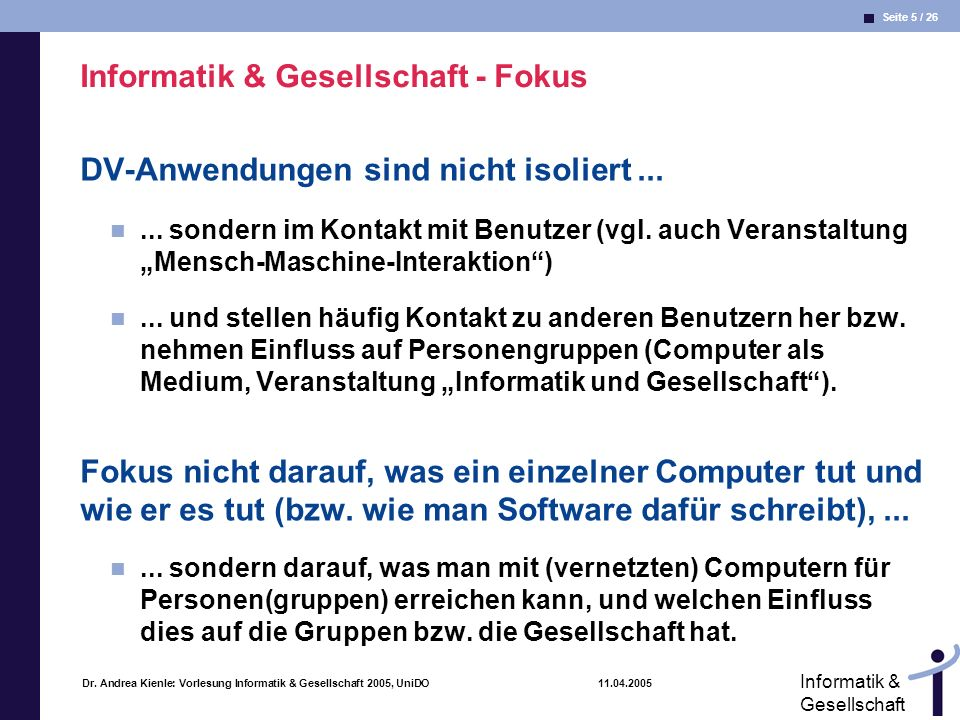 Informatik & Gesellschaft - Fokus