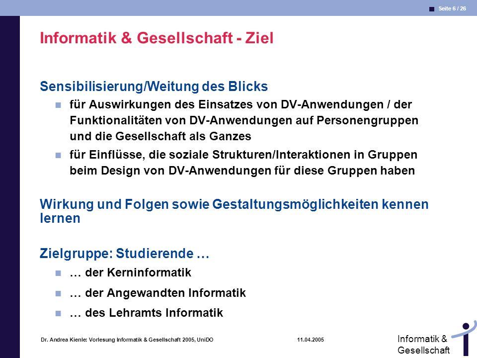 Informatik & Gesellschaft - Ziel