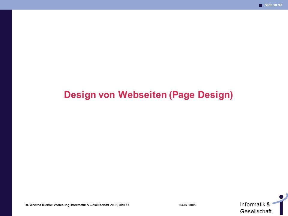 Design von Webseiten (Page Design)
