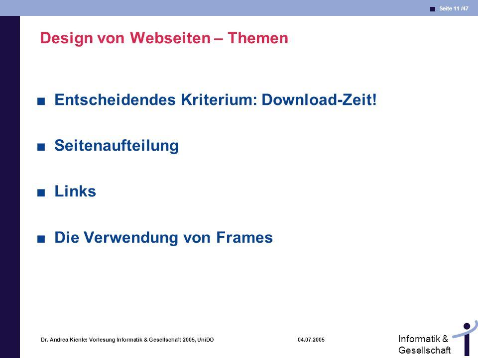 Design von Webseiten – Themen