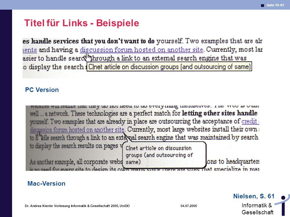 Titel für Links - Beispiele