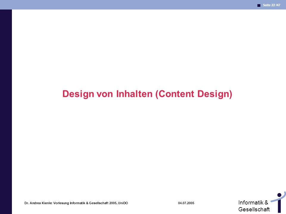 Design von Inhalten (Content Design)