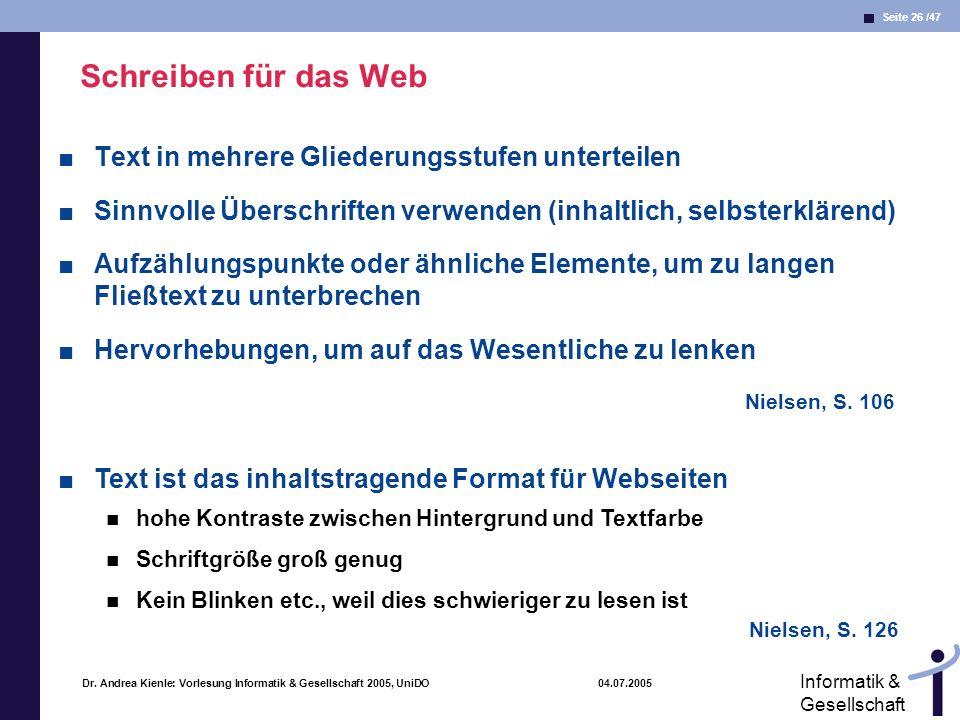 Schreiben für das Web Text in mehrere Gliederungsstufen unterteilen