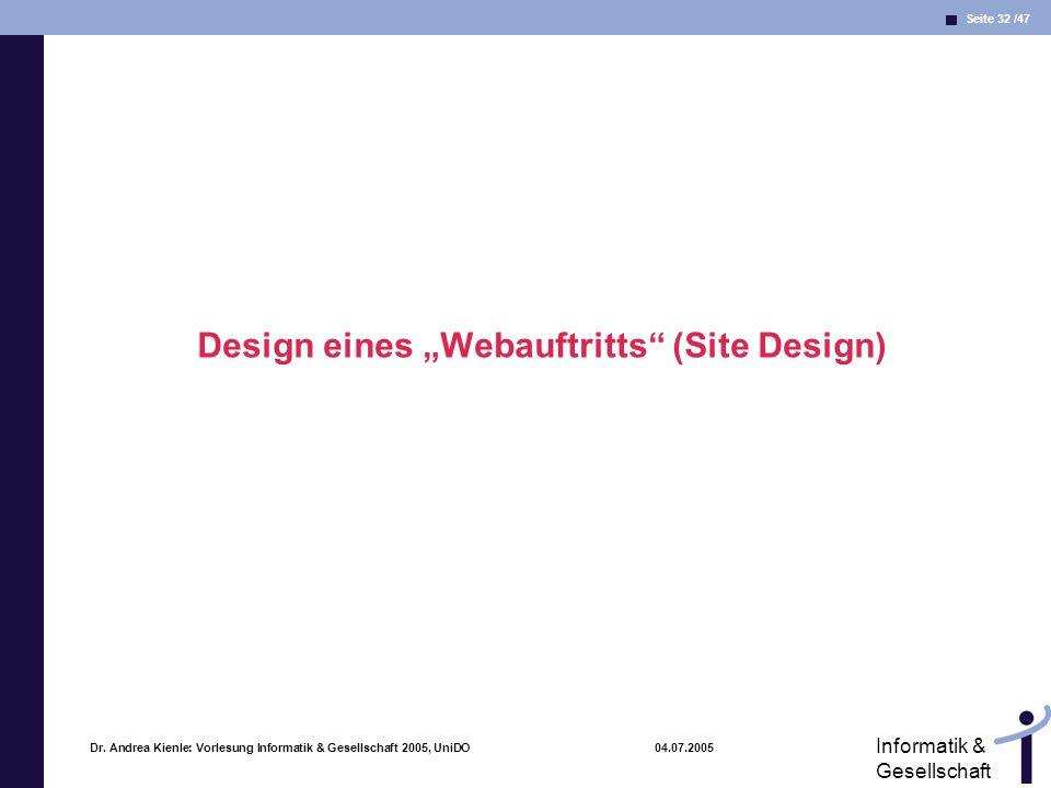 """Design eines """"Webauftritts (Site Design)"""