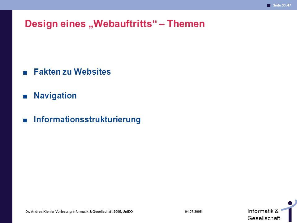 """Design eines """"Webauftritts – Themen"""