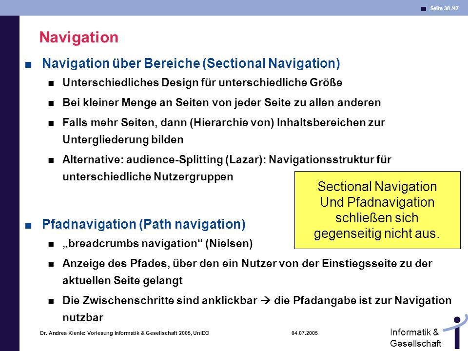 Navigation Navigation über Bereiche (Sectional Navigation)