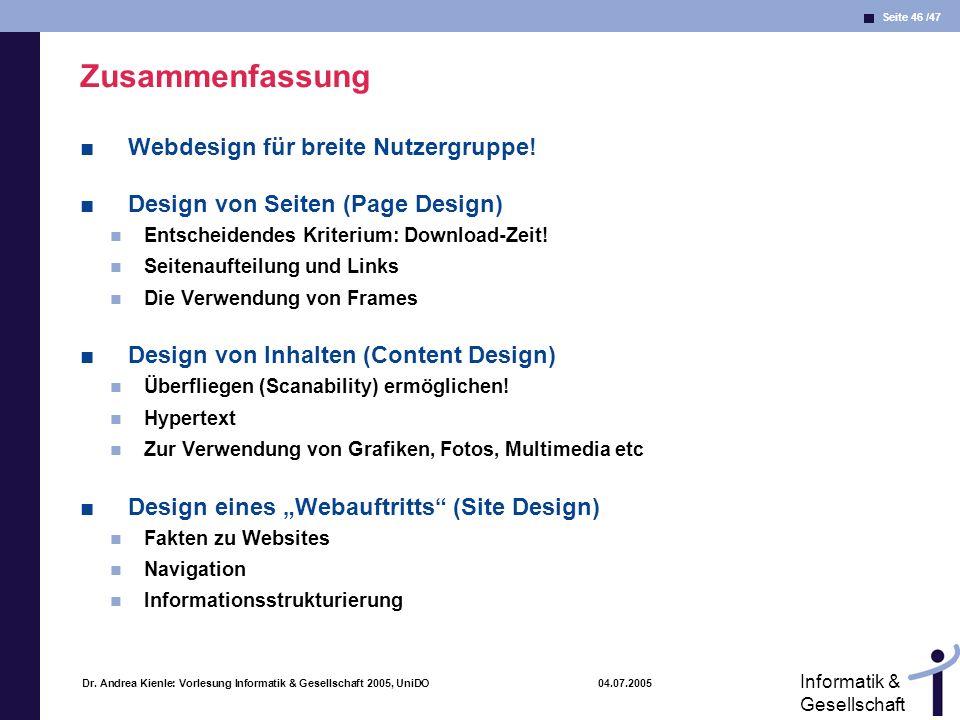 Zusammenfassung Webdesign für breite Nutzergruppe!
