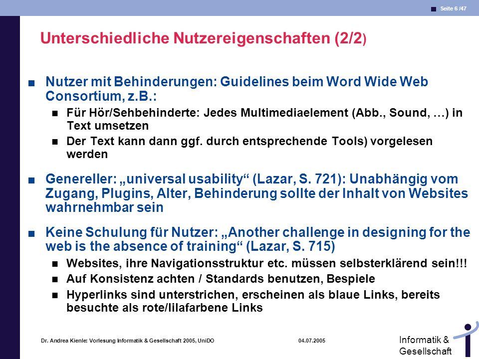 Unterschiedliche Nutzereigenschaften (2/2)