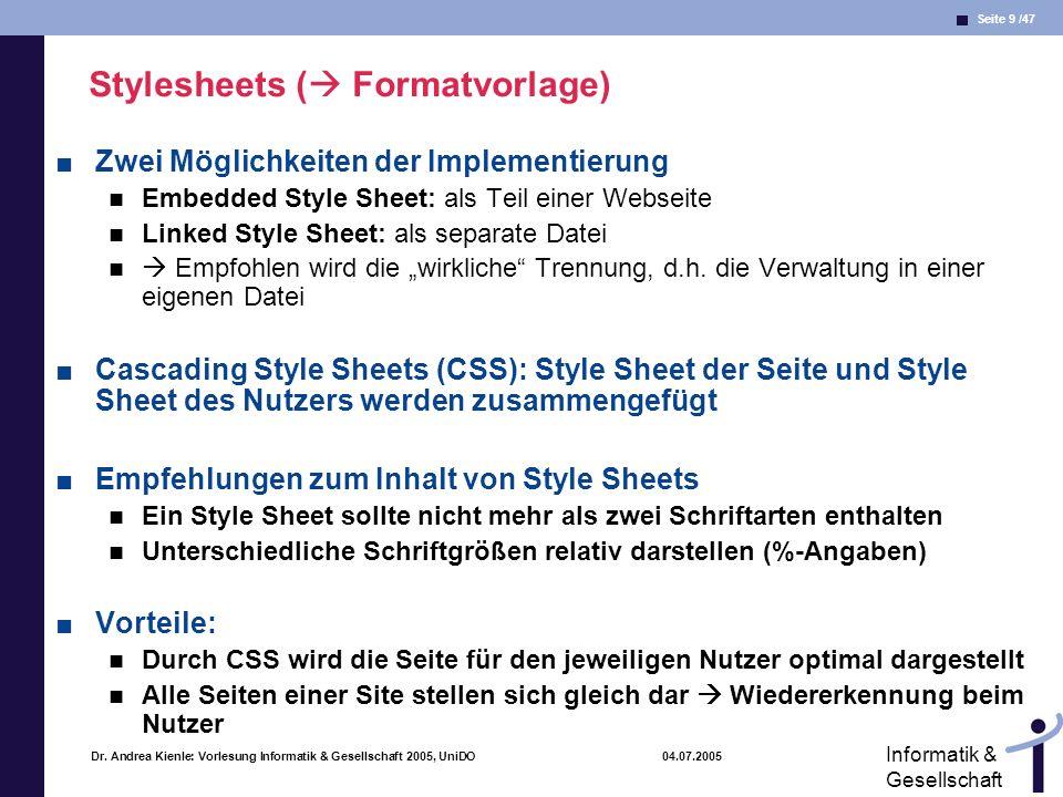Stylesheets ( Formatvorlage)