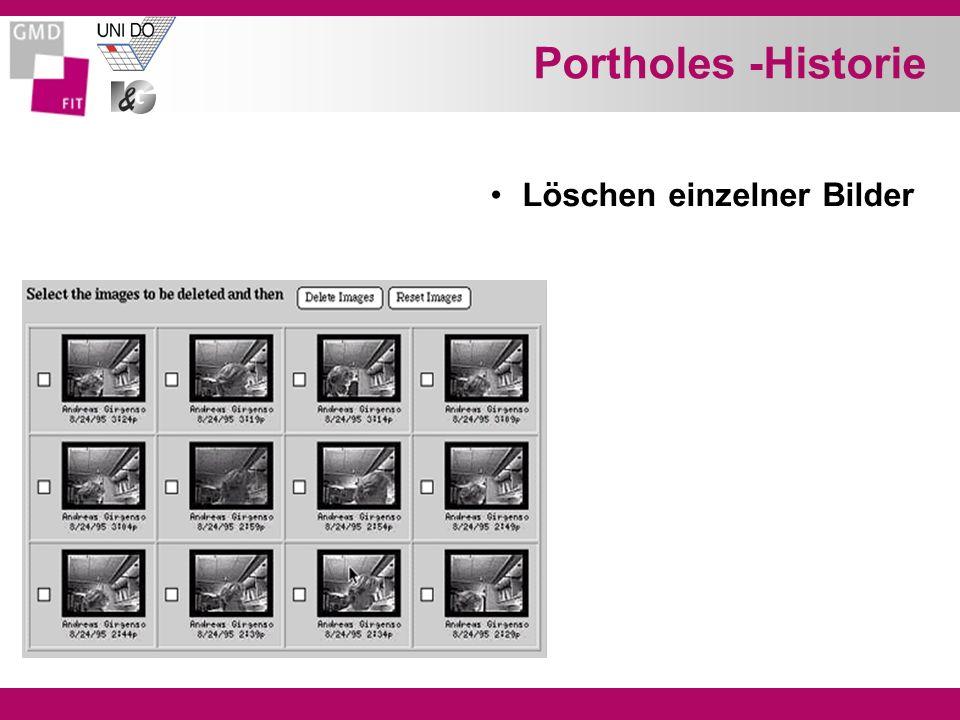 Portholes -Historie Löschen einzelner Bilder