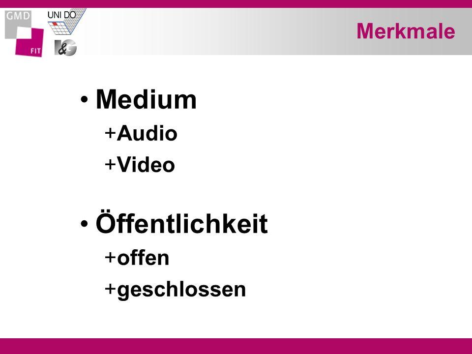Merkmale Medium Audio Video Öffentlichkeit offen geschlossen