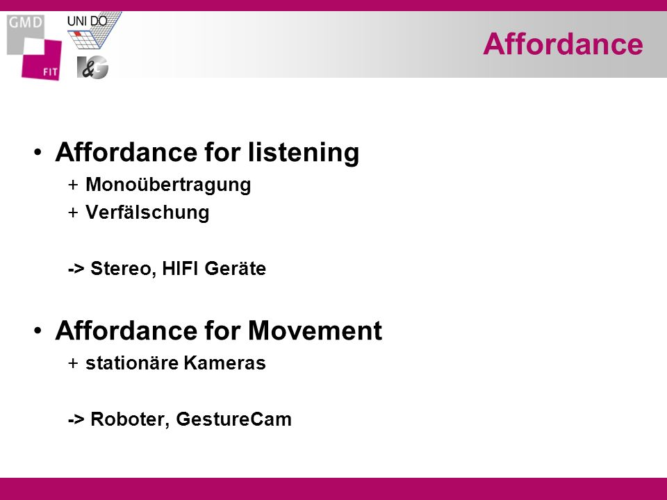Affordance Affordance for listening Affordance for Movement