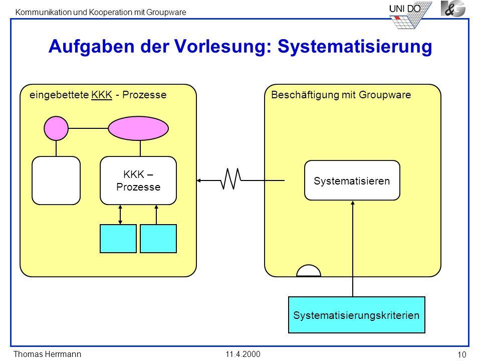 Aufgaben der Vorlesung: Systematisierung