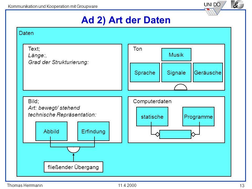 Ad 2) Art der Daten Daten Text; Länge:, Grad der Strukturierung: Ton