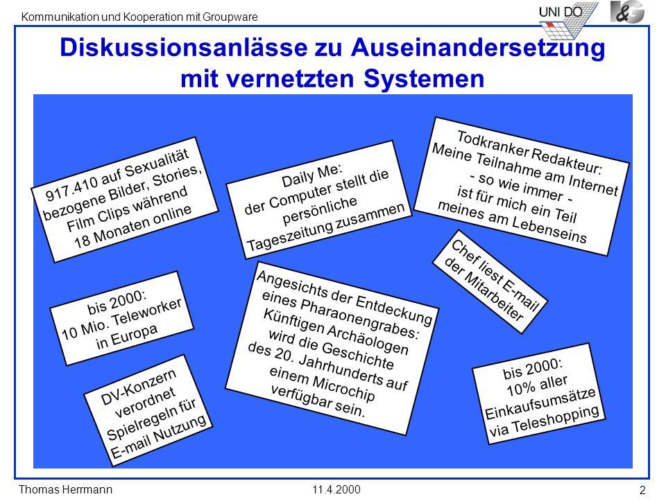 Diskussionsanlässe zu Auseinandersetzung mit vernetzten Systemen