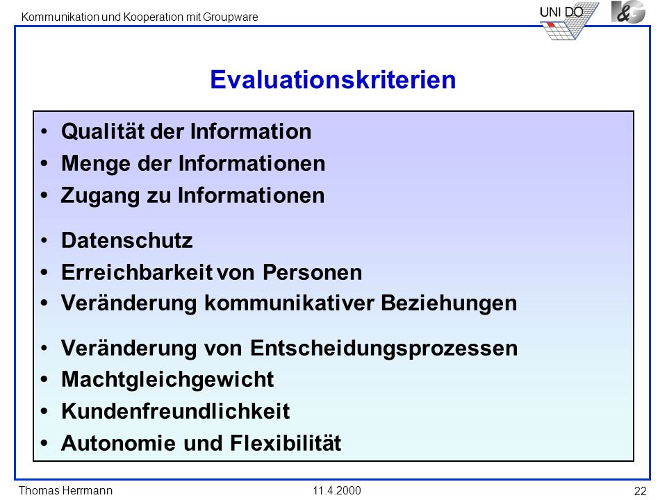 Evaluationskriterien
