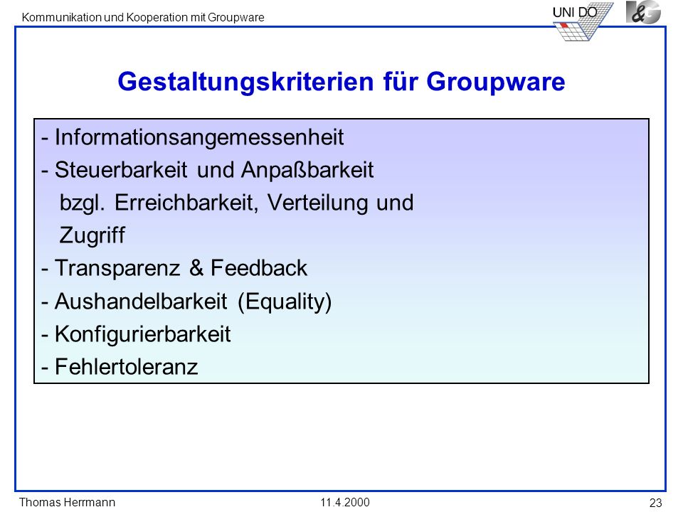 Gestaltungskriterien für Groupware