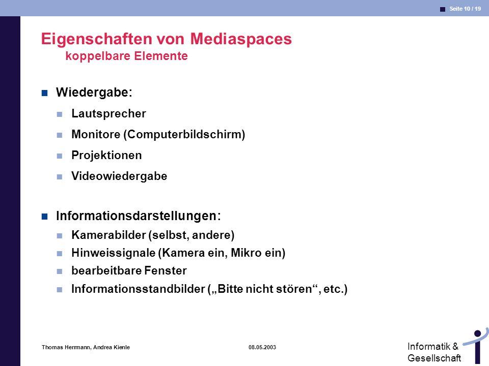 Eigenschaften von Mediaspaces koppelbare Elemente