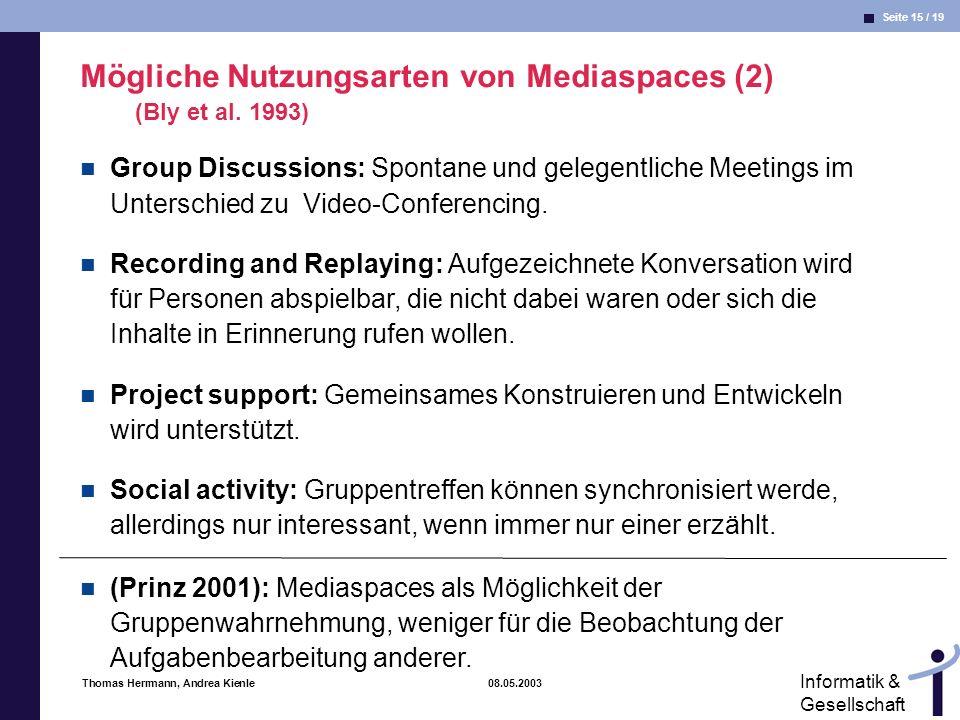 Mögliche Nutzungsarten von Mediaspaces (2) (Bly et al. 1993)
