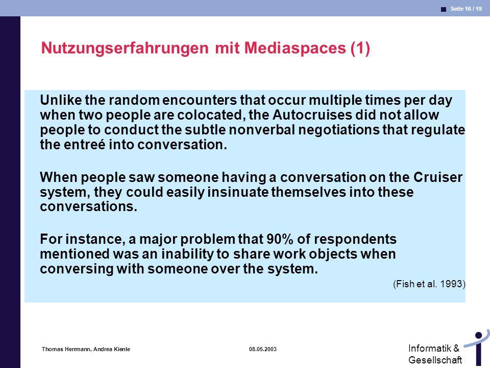 Nutzungserfahrungen mit Mediaspaces (1)