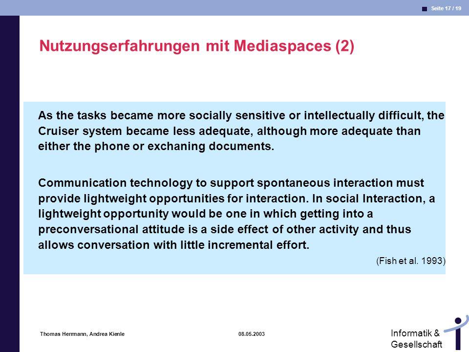 Nutzungserfahrungen mit Mediaspaces (2)