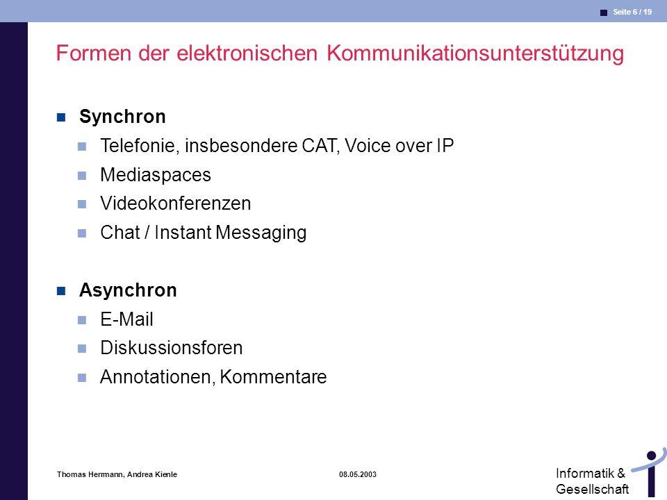 Formen der elektronischen Kommunikationsunterstützung
