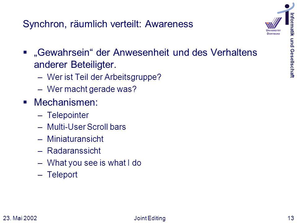 Synchron, räumlich verteilt: Awareness