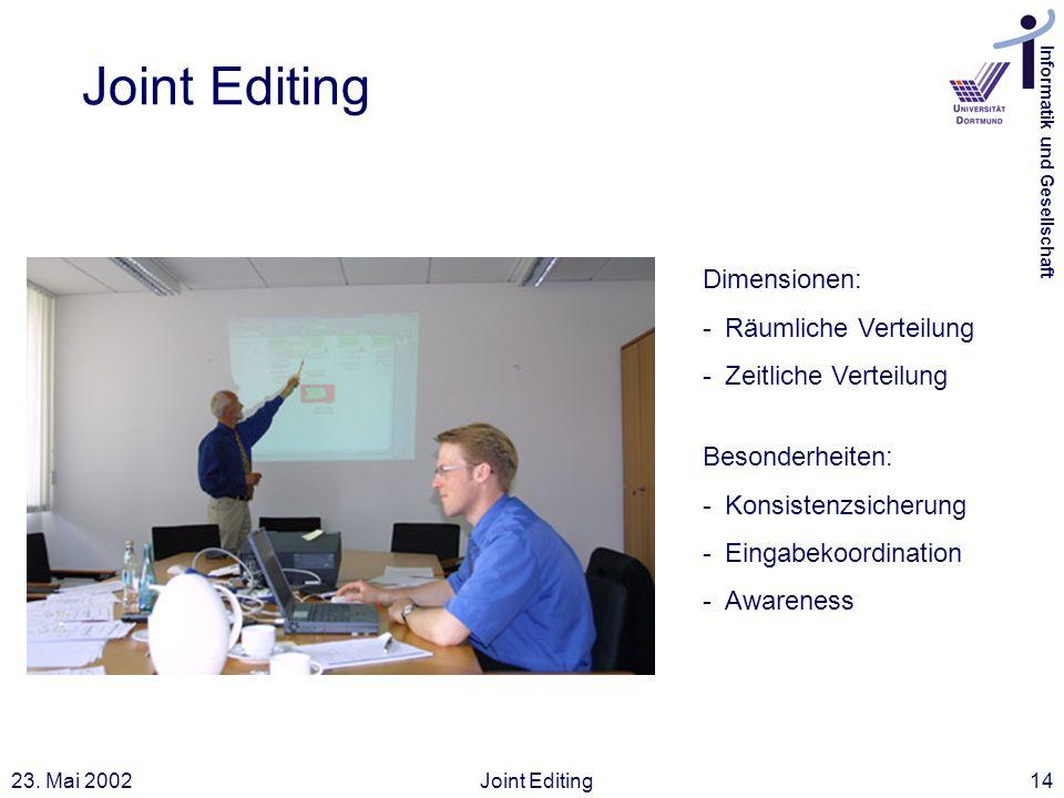 Joint Editing Dimensionen: Räumliche Verteilung Zeitliche Verteilung