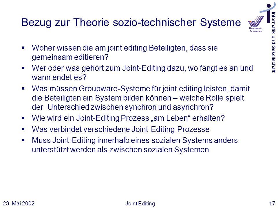 Bezug zur Theorie sozio-technischer Systeme