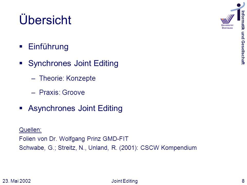 Übersicht Einführung Synchrones Joint Editing