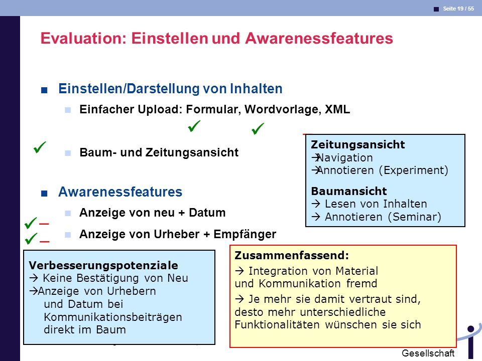 Evaluation: Einstellen und Awarenessfeatures