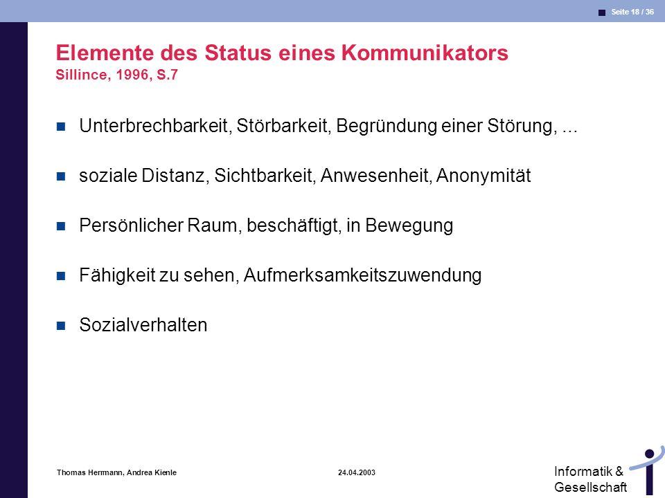Elemente des Status eines Kommunikators Sillince, 1996, S.7