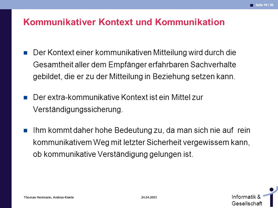 Kommunikativer Kontext und Kommunikation