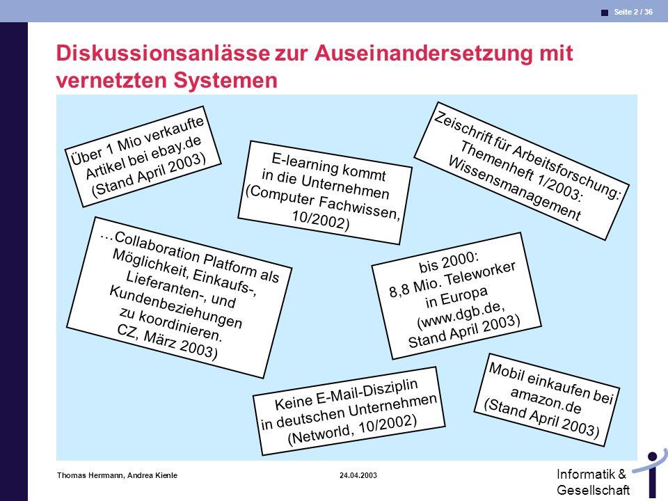 Diskussionsanlässe zur Auseinandersetzung mit vernetzten Systemen