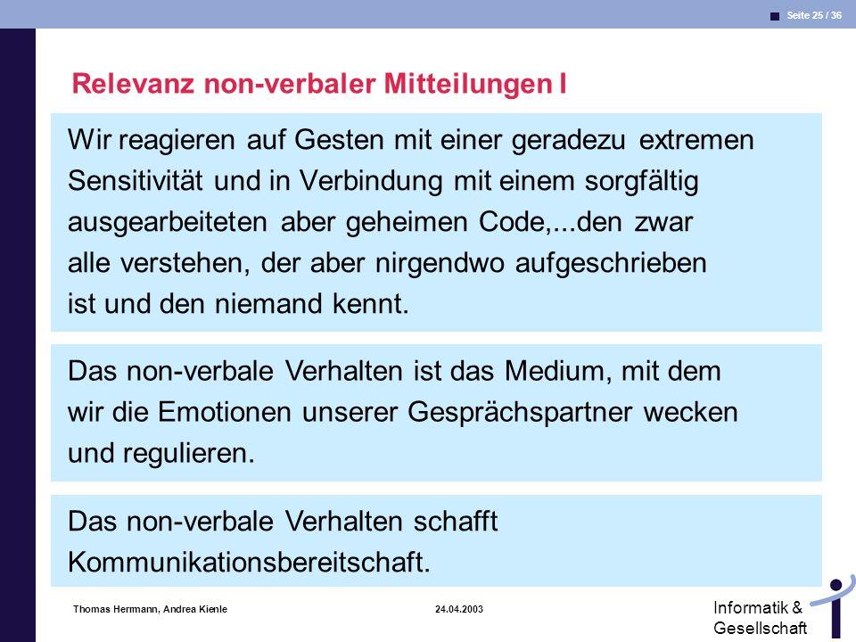 Relevanz non-verbaler Mitteilungen I