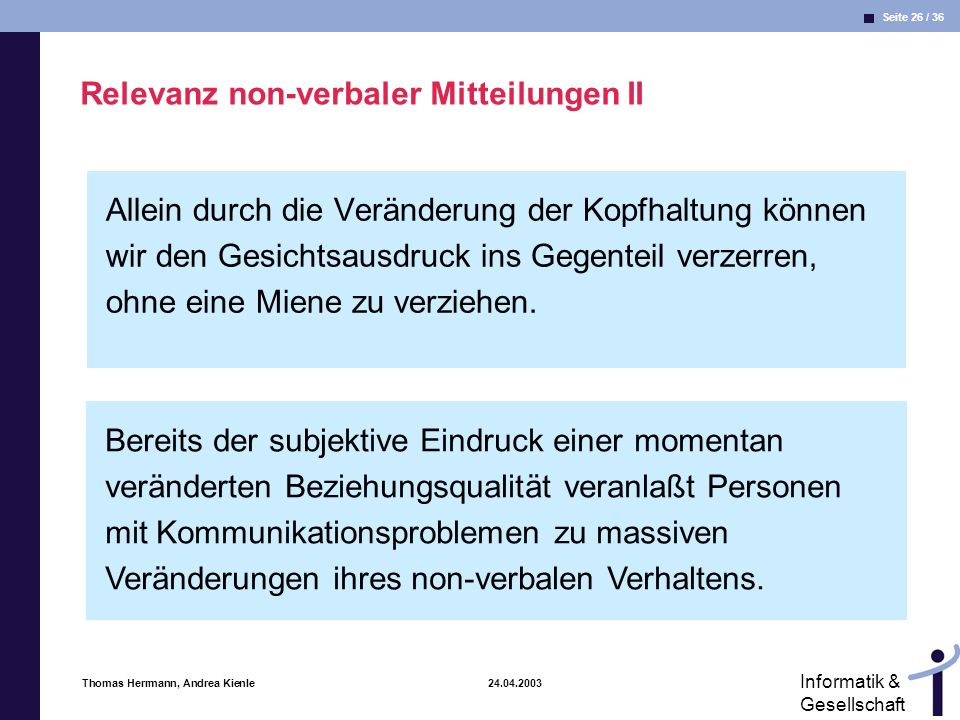Relevanz non-verbaler Mitteilungen II