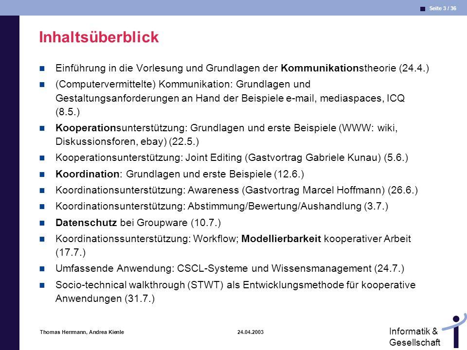 Inhaltsüberblick Einführung in die Vorlesung und Grundlagen der Kommunikationstheorie (24.4.)