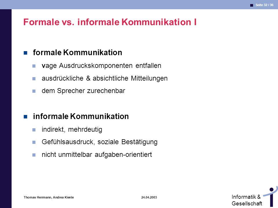 Formale vs. informale Kommunikation I