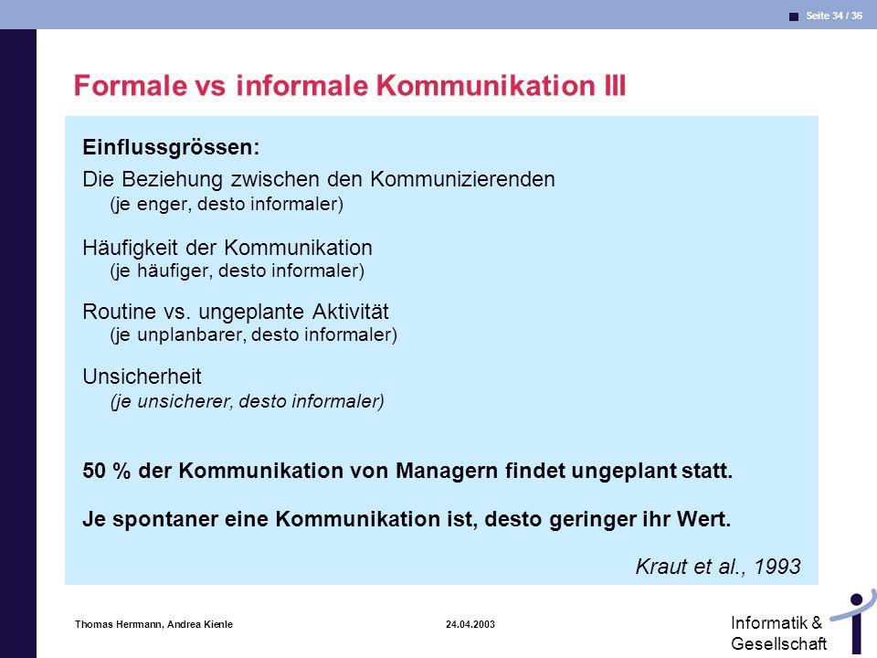 Formale vs informale Kommunikation III