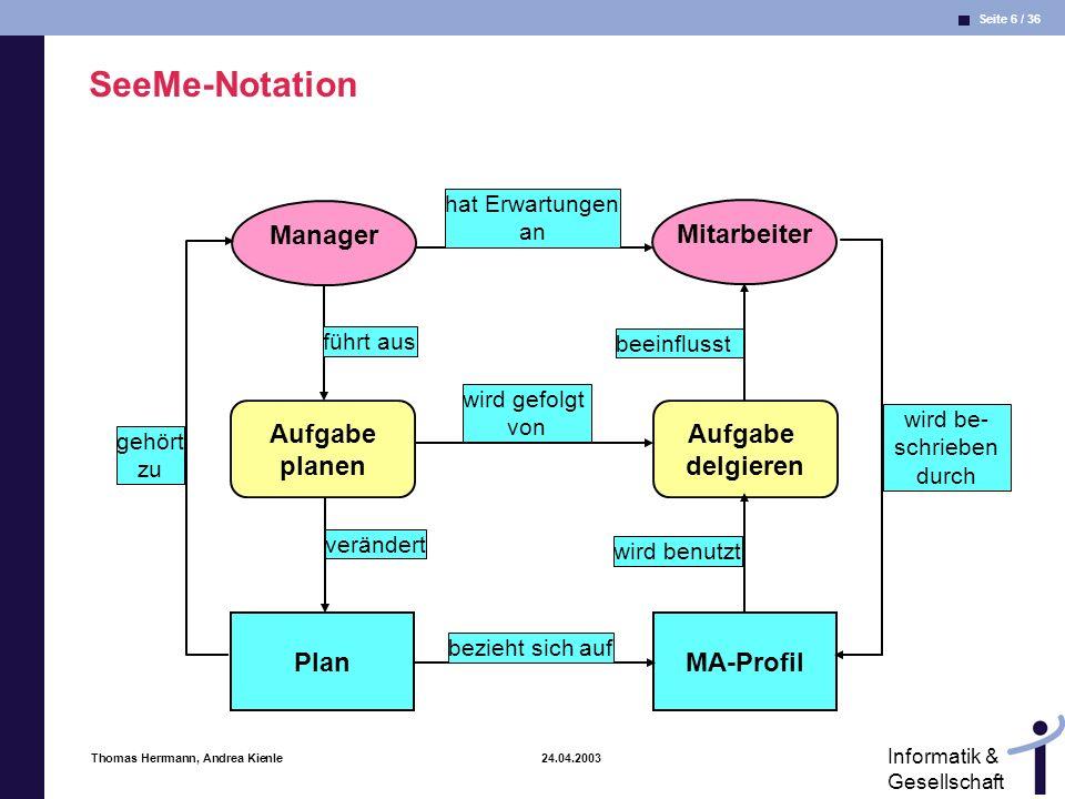 SeeMe-Notation Manager Mitarbeiter Aufgabe planen Aufgabe delgieren