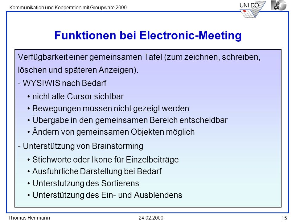 Funktionen bei Electronic-Meeting