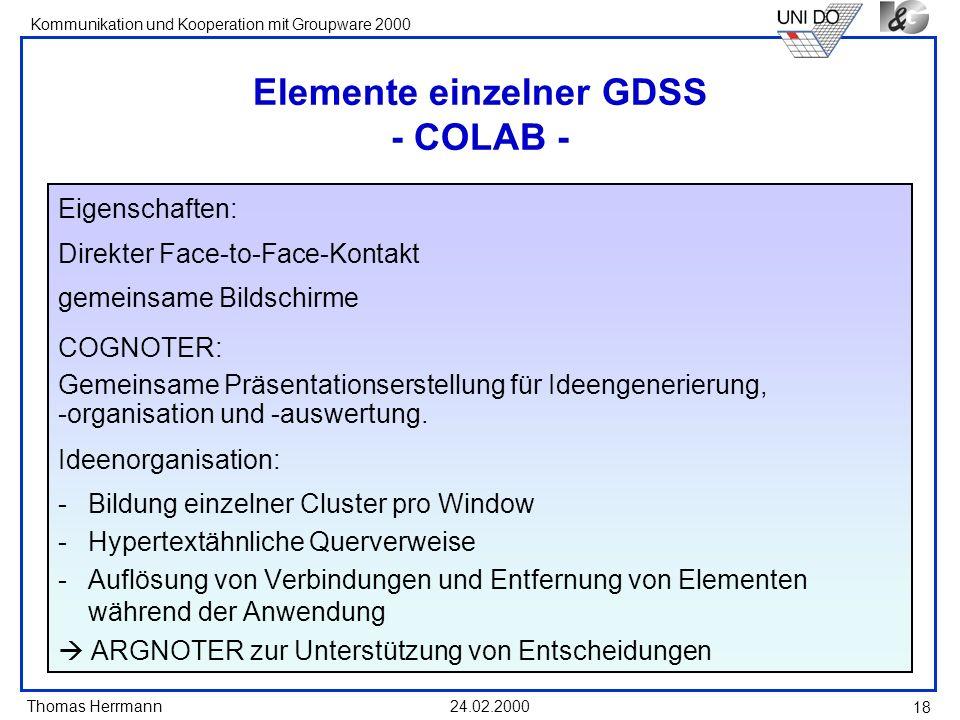 Elemente einzelner GDSS - COLAB -