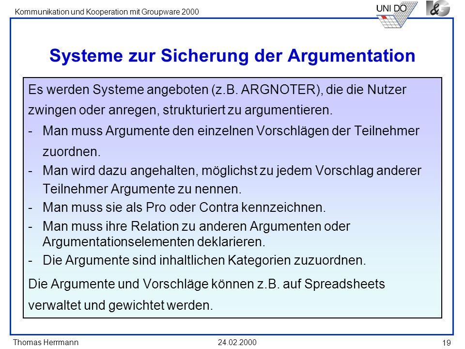 Systeme zur Sicherung der Argumentation