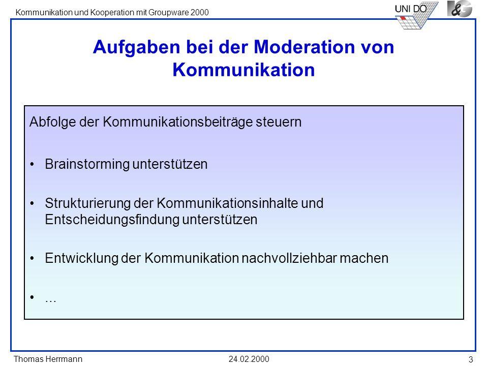 Aufgaben bei der Moderation von Kommunikation