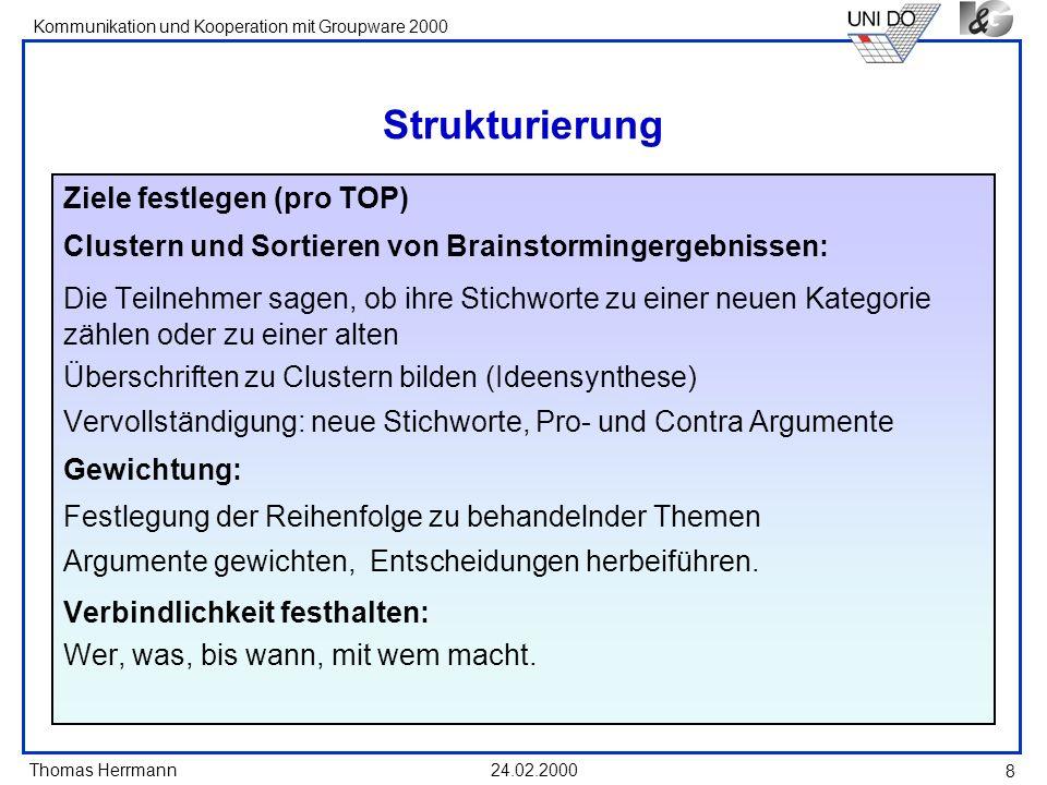 Strukturierung Ziele festlegen (pro TOP)