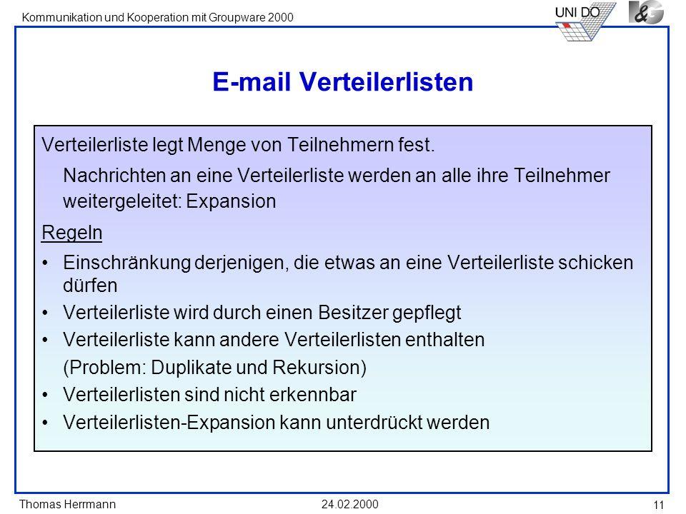 E-mail Verteilerlisten