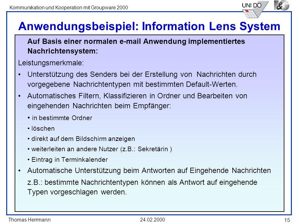Anwendungsbeispiel: Information Lens System