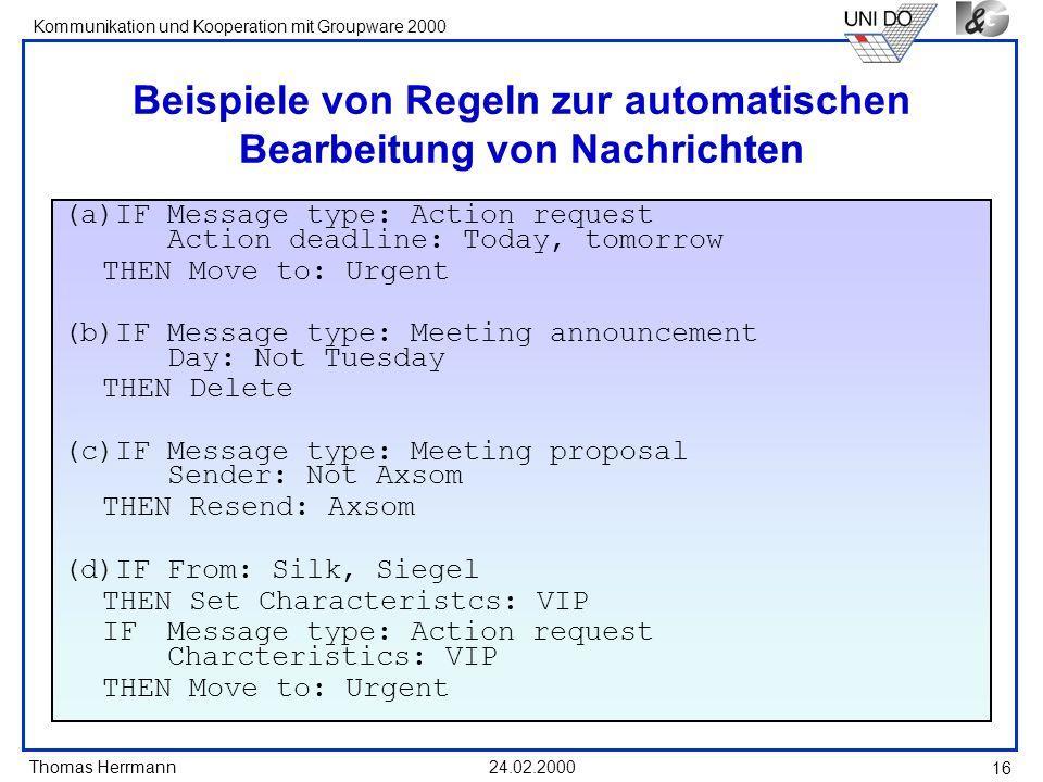 Beispiele von Regeln zur automatischen Bearbeitung von Nachrichten